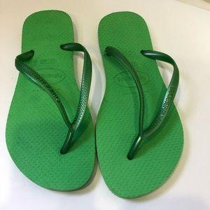 Havaianas green rubber sandals flip flops 35-36